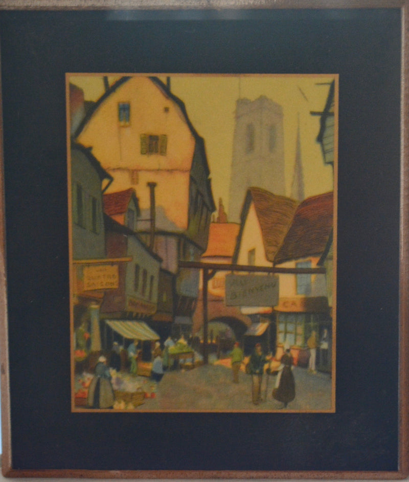 Antique Print of French Village Scene - Wood mounted