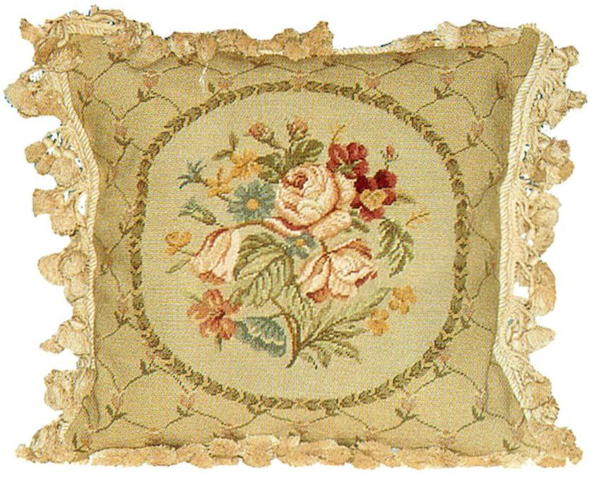 Floral Tassel Aubusson Pillow