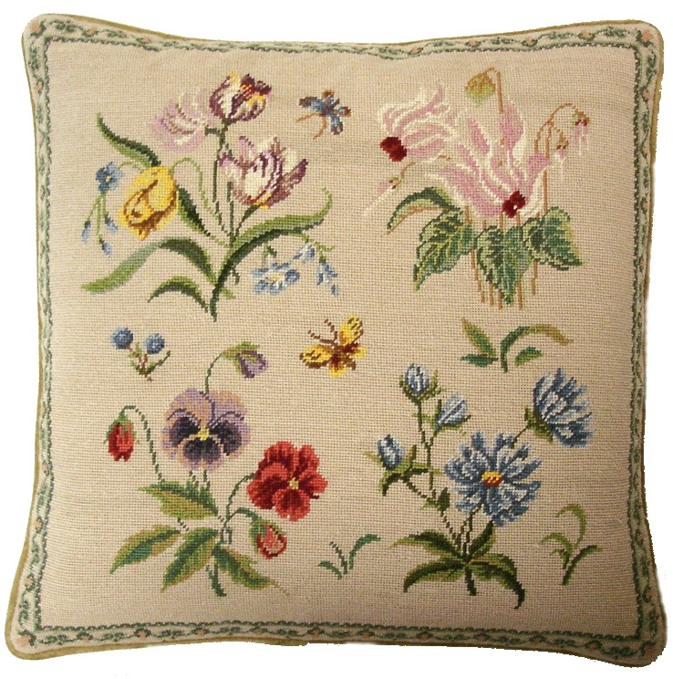 Herbs and Butterfly Aubusson Pillow
