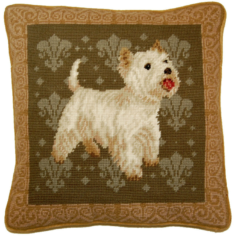 West Highland Terrier Aubusson Pillow