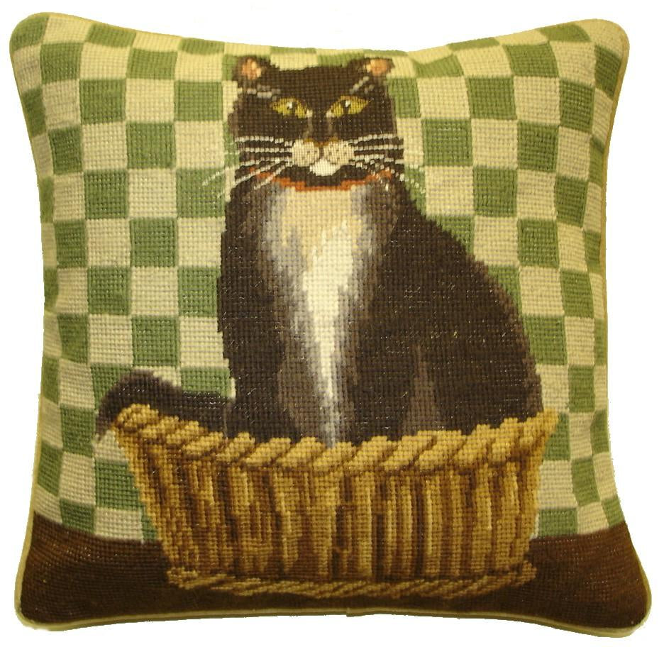 Tuxedo Cat Aubusson Pillow