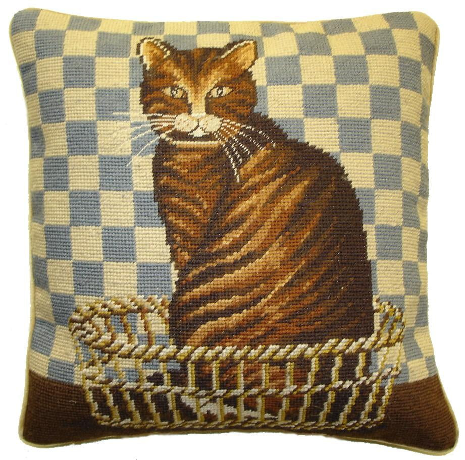 Brown Cat Aubusson Pillow