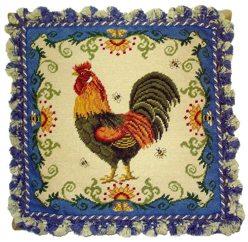 Blue Rooster Aubusson Pillow