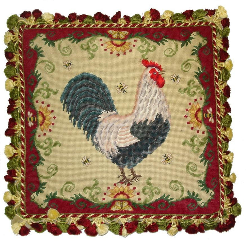 Rooster and Bees Aubusson Pillow