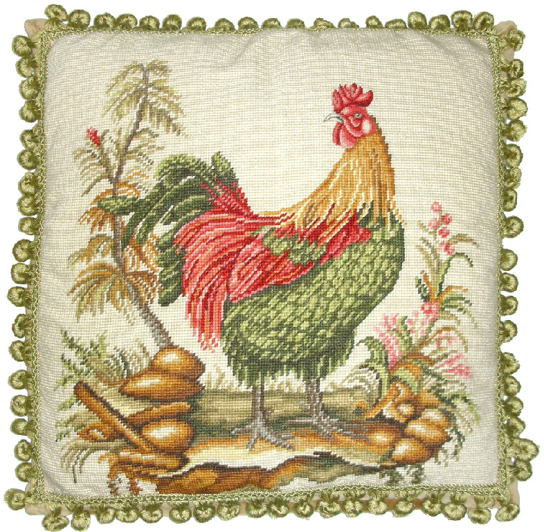 Rooster Left Aubusson Pillow