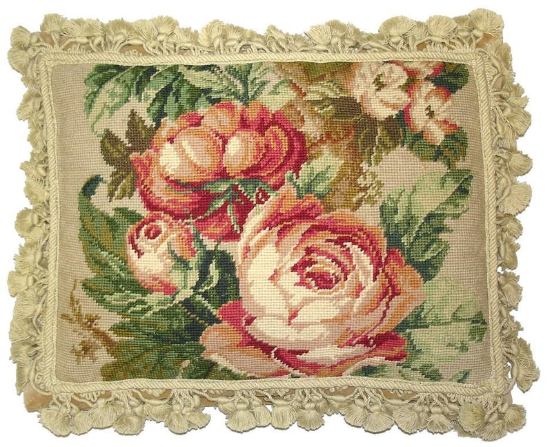 Pink Cabbage Rose Aubusson Pillow