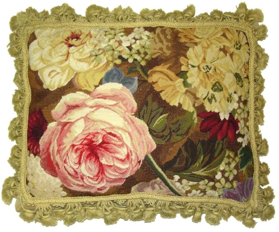 Pink Roses Aubusson Pillow