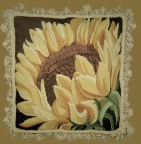 Sunflower Floral Aubusson Pillow