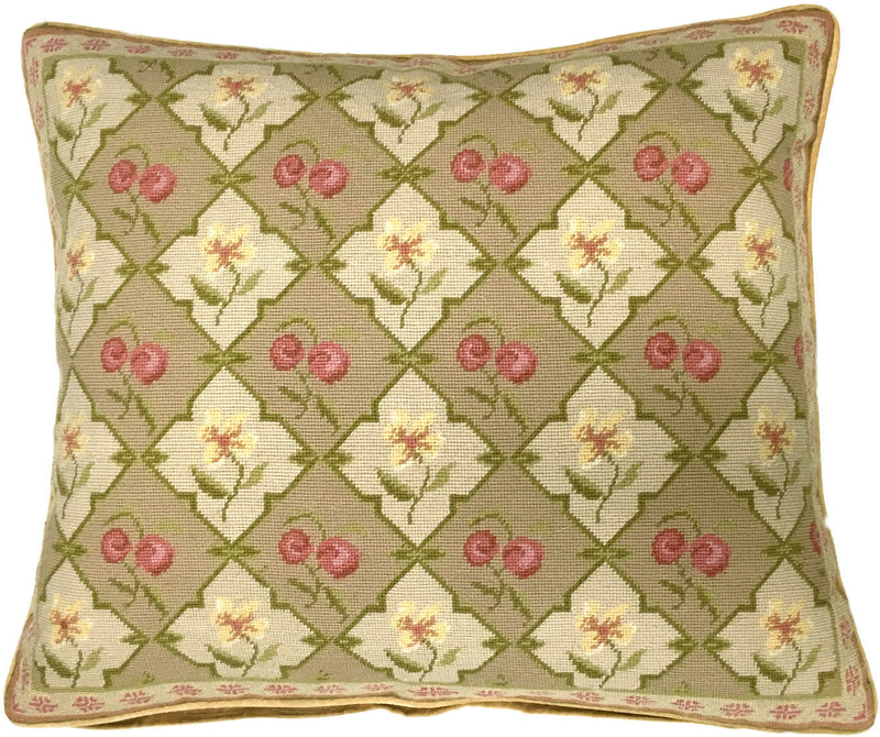 Petit Point Cherry Aubusson Pillow