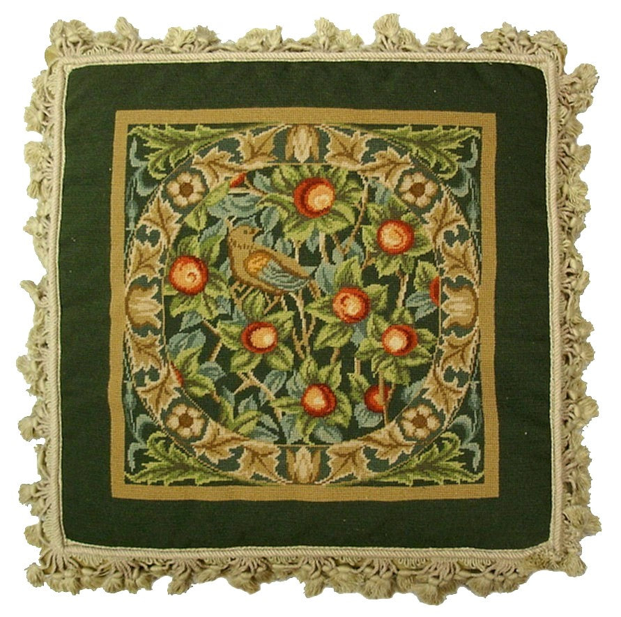 Partridge in a Pear Tree II Aubusson Pillow Green tones