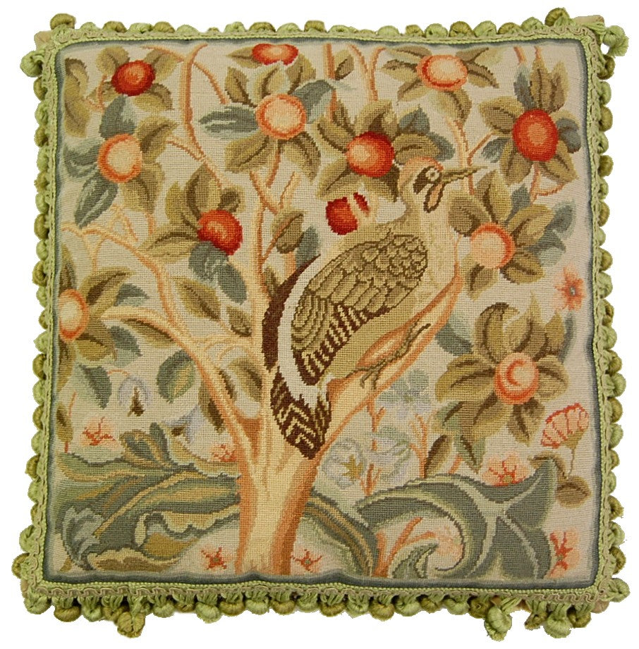 Partridge in a Pear Tree Aubusson Pillow  - beige partridge in pear tree with red pears