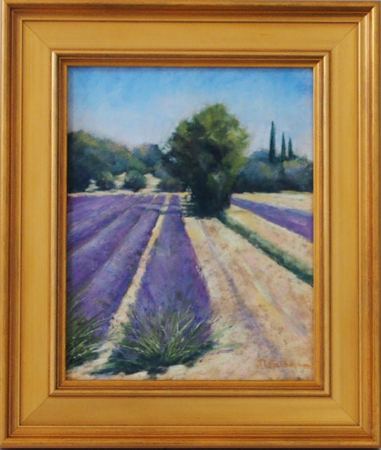Lavender Fields by Joelle Levallet-Feldman with frame