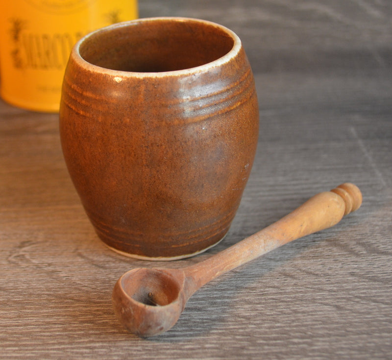 Vintage Pot with wooden spoon