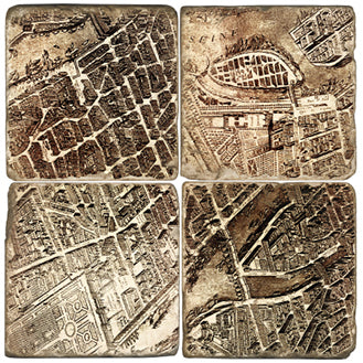 Old Paris Map Coaster Set