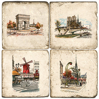 Paris Landmarks Coaster  - set of 4 with windmill, arc de triomphe, notre dame and Paris metro
