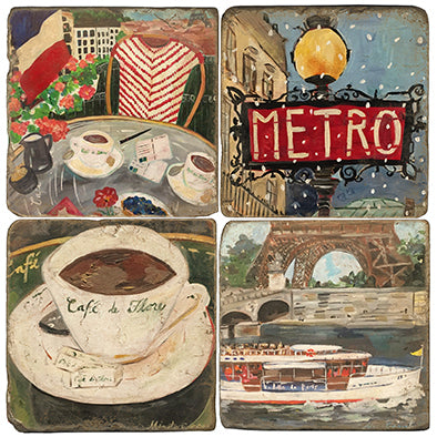 Paris Life Coaster - set of 4 - cafe chair, cafe cup, boat on the seine and metro sign