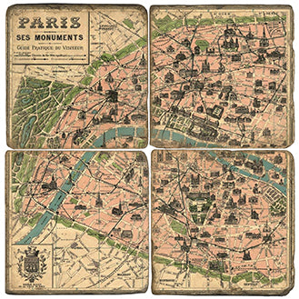 Paris Landmarks Coaster  - Set of 4 - map  view