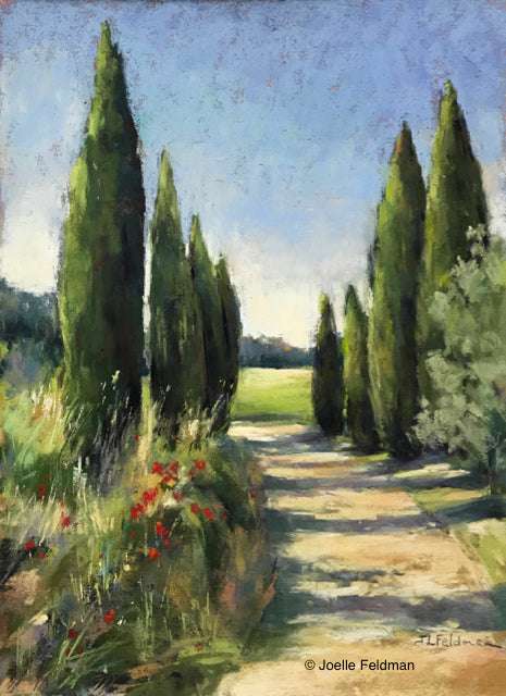 Path to the Villa by Joelle Levallet-Feldman with cypress trees