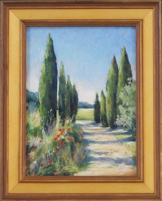 Path to the Villa by Joelle Levallet-Feldman with cypress trees in frame