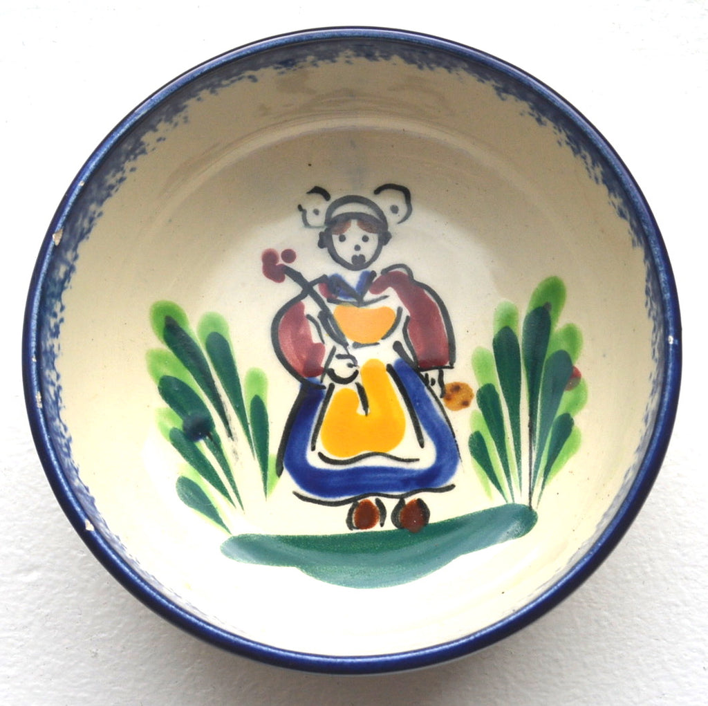 Vintage MBFA Pornic Quimper Bowl girl with flower