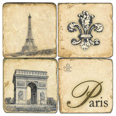 Retro Paris Coaster  - set of 4 Eiffel Tower, fleur de lys, arc de triomphe, Paris