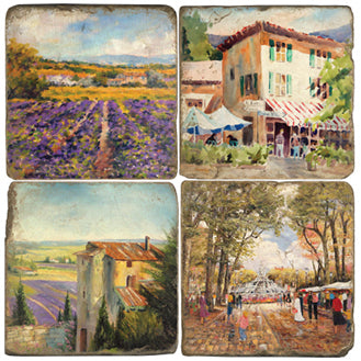 Provence Coaster  - set of 4 - vineyards, lavender fields, provencal village, market