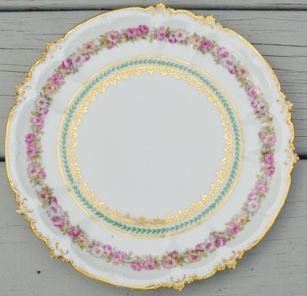 CH Field Haviland Limoges Antique Pink Roses Dinner Plate