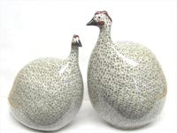 La Pintade Guinea Hen - White with Grey
