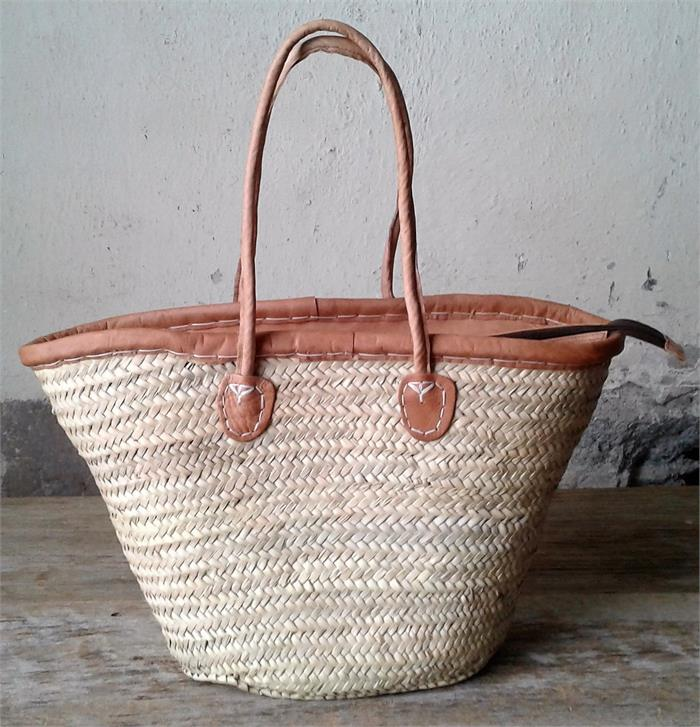 Zippered Leather Top Basket