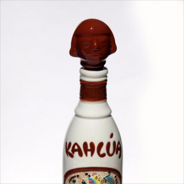 1937 MAYAN KAHLUA Hand Painted Bottle Liquor Decanter AZTEC Tribal Art for Your Vintage Home or Bar Made in Mexico