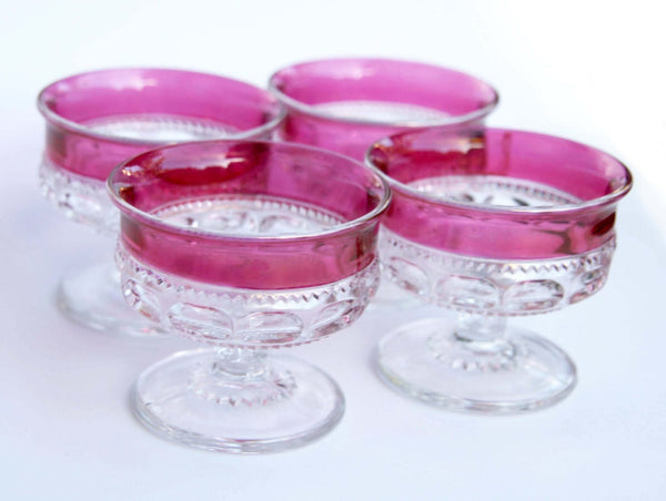 1940s Indiana Glass Co Kings Crown Thumb Print Ruby Flashed 4 Glasses on Pedals Pink Red Hue