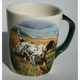 1967 Hazel D. Ammerman Autumn Scene with Hunting Pointer Dog Harvest Field Collector Cup