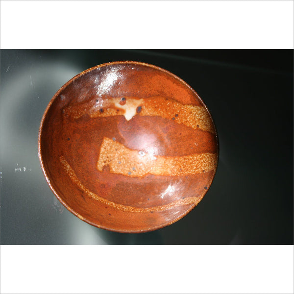 1968 EDEN POTTERY BOWL in Rust Copper Bronze Burnt Orange Terracotta Signed by the Artist
