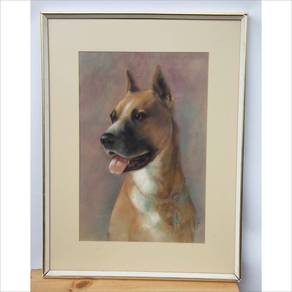 1968 Pit Bull Conte Drawing Signed by the Artist Original Framed Art Mid Century Modern Dog Drawing
