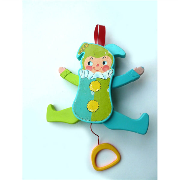 1969 Fisher Price Collectable JOLLY JUMPING JACK 145 Jingle Bells Squeaks Eyes Roll Arms Wave up and down with String