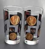 1969 Vintage San Diego California Gold Coin 200th anniversary collectors glasses set of 2 In Black Gold Crystal Clear