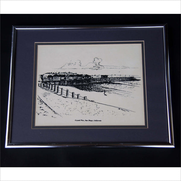1972 Framed Line Drawing Art San Diego Crystal Pier Pacific Beach 12 31 72 Surfing Sand Ocean Landscape in Black Ink