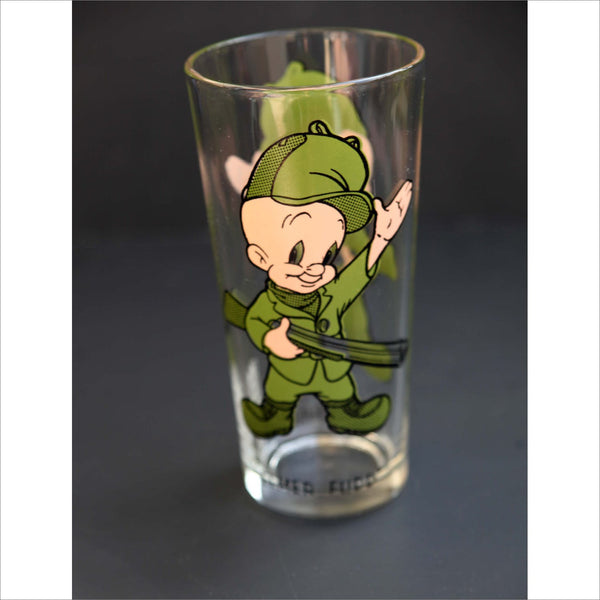 1973 ELMER FUDD Collectible Glass Loony Tunes Warner Brothers Famous Cartoon Tall Glassware PEPSI Glass Label