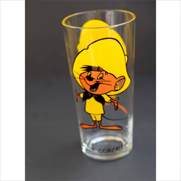 1973 SPEEDY GONZALEZ Collectible Glass Loony Tunes Warner Brothers Famous Cartoon Tall Glassware PEPSI Glass Label