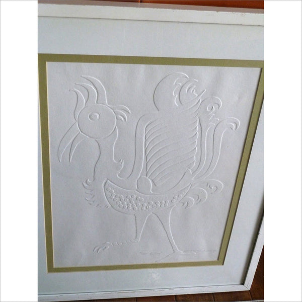 1975 Framed Art Limited Edition 3/250 Titled LE COQ White on White EMBOSSED Original Mid Century Modern Minimalist Art