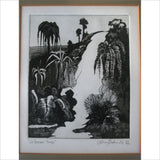1976 French Art - Le Premier Temps 3 of 5 Black & White Artist Signed Titled Numbered Print Professionally Framed in Oak w Bevel Matt