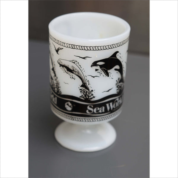 1980 Sea World Milk Glass Mug with Dolphins Killer Whales Sea Creatures Ocean on Pedastal Base with Double Finger Hold New Condition