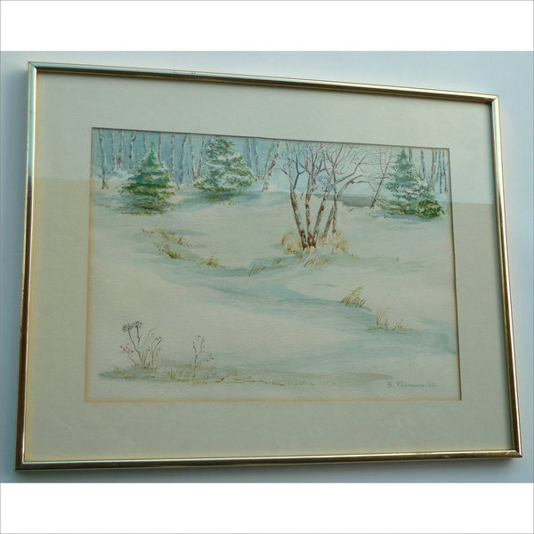 1982 Original Watercolor Landscape Painting Pine and Birch Trees Snow Covered Forest Stream by G Visman signed and framed
