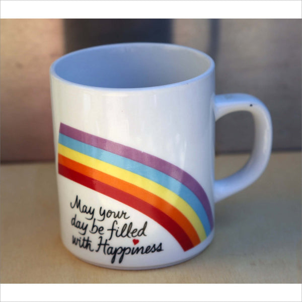 1984 HAPPINESS MUG AVON Rainbow Heart Coffee Cup Mug for Collectors  May Your Day be Filled with Happiness Ceramic Pen Cup or Planter