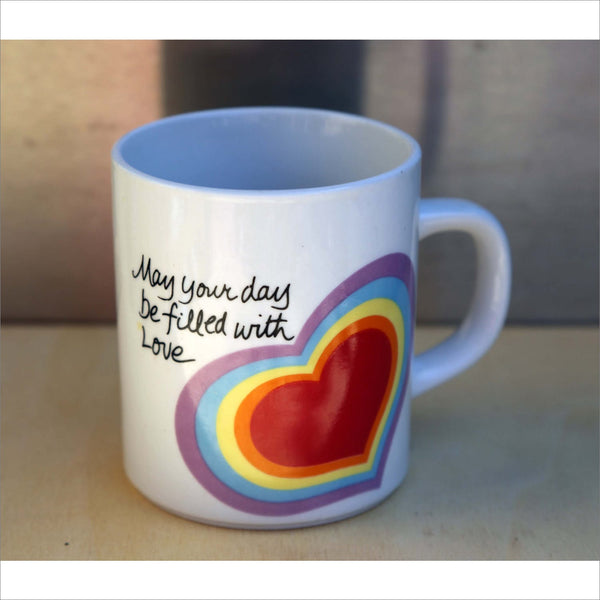 1984 LOVE MUG coffee cup rainbow May Your Day Be Filled With Love ceramic uplifting pen cup or planter