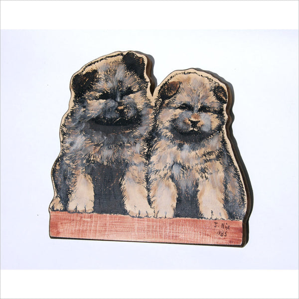1985 CHOW CHOW Dog Wood Plaque Art Baby Puppies in Pen and Ink Print by J NIX Vintage Art