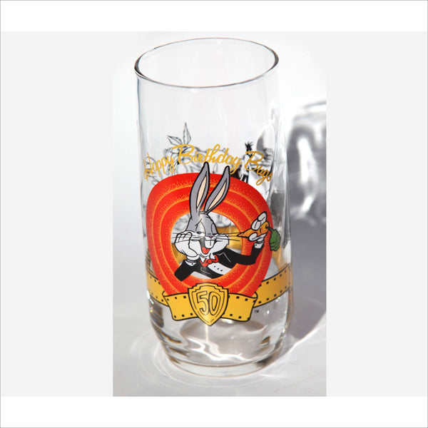 1990 Happy Birthday BUGS BUNNY Collectible 50th Anniversary Glass Loony Tunes Warner Brothers Famous Cartoon Tall Glassware