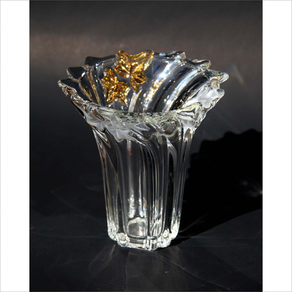 24k GOLD Heavy Crystal Vase in Vorex Maple Leaf Made in GERMANY by Wather Glass Clear Frosted and Gold with Original Label