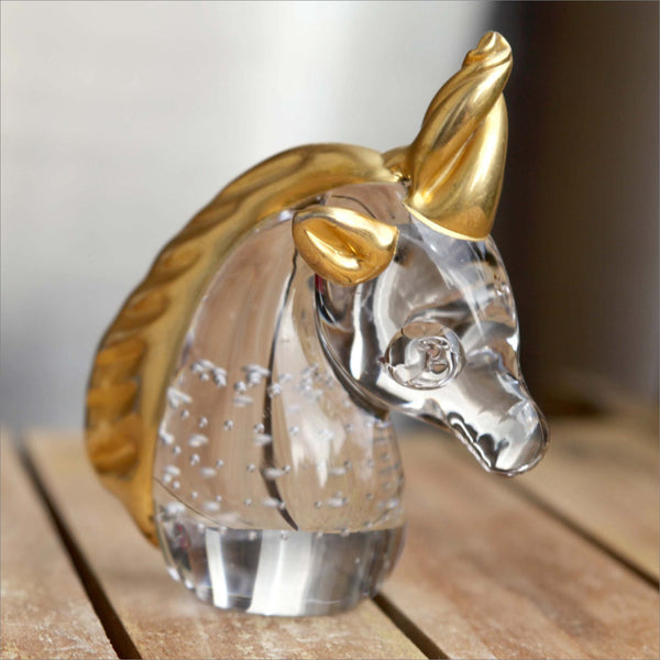 24k Gold Unicorn Controlled Bubble Hand Blown Glass Figurine with Thick Gold Horn Mane and Ears Vintage Hand Made Decor