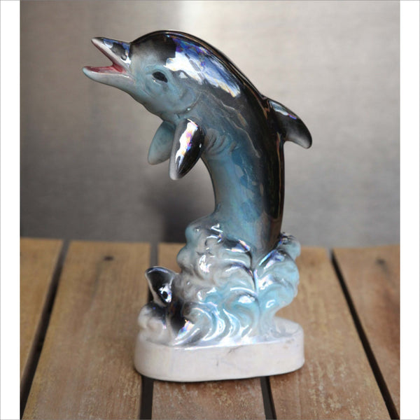50s Ceramic Dolphin Figurine Iridescent Pearized Blue Black Gray Hand Painted Ceramic Sculpture Made in JAPAN with Original Sticker
